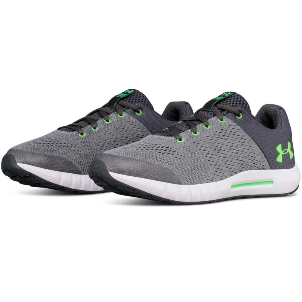 UNDER ARMOUR Big Boys' Grade School UA Pursuit Running Shoes, Wide - STEEL/WHT/GRN-101