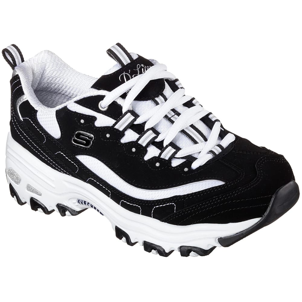 SKECHERS Women's D'Lites - Biggest Fan Sneakers - BKW- BLK/WHITE