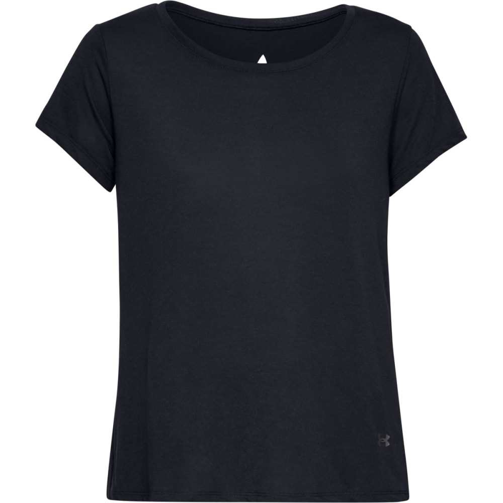 Under Armour Women's Short-Sleeve Whisperlight Foldover Shirt - Black, S