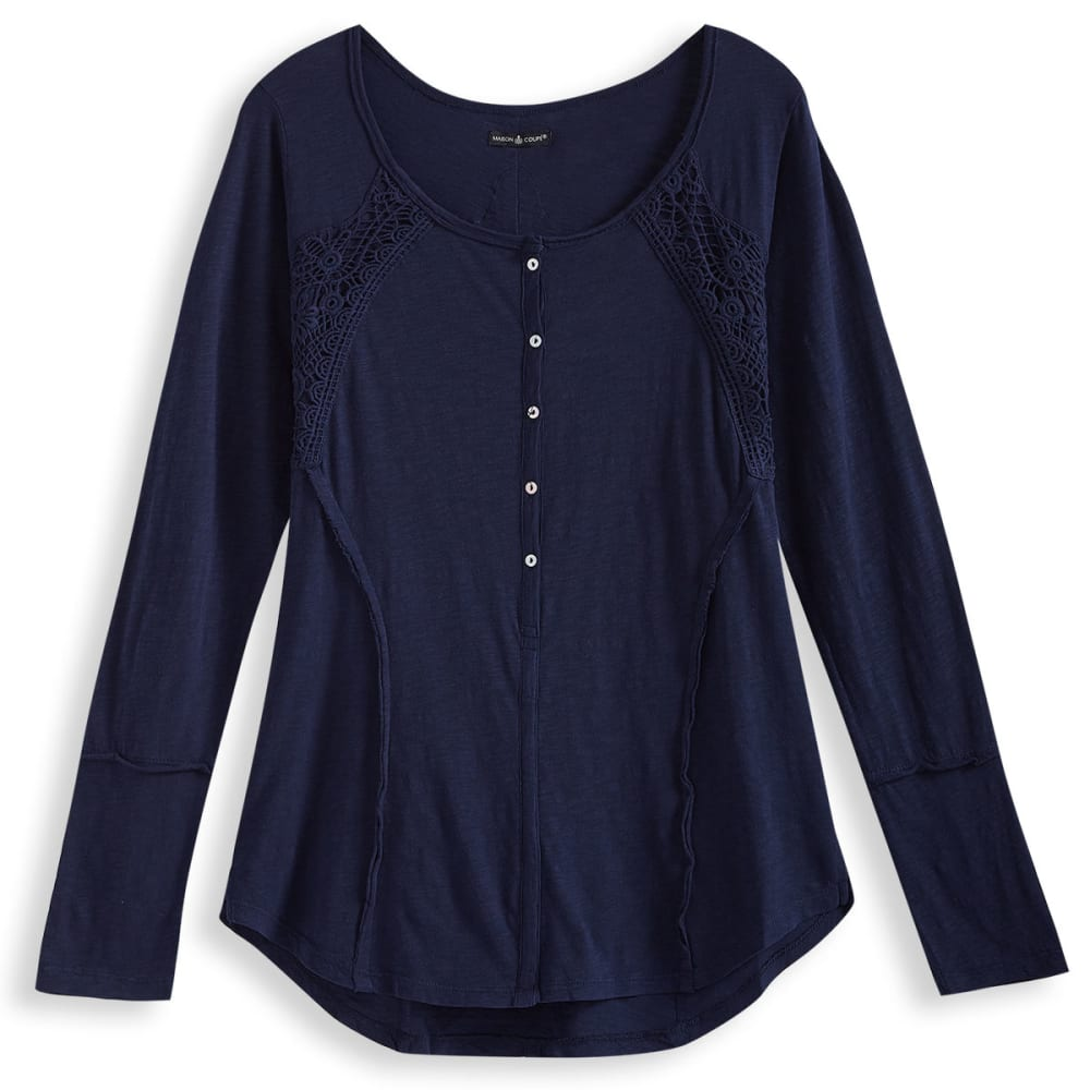 MAISON COUPE Women's Knit Buttoned Placket Long-Sleeve Top - NAVY-402