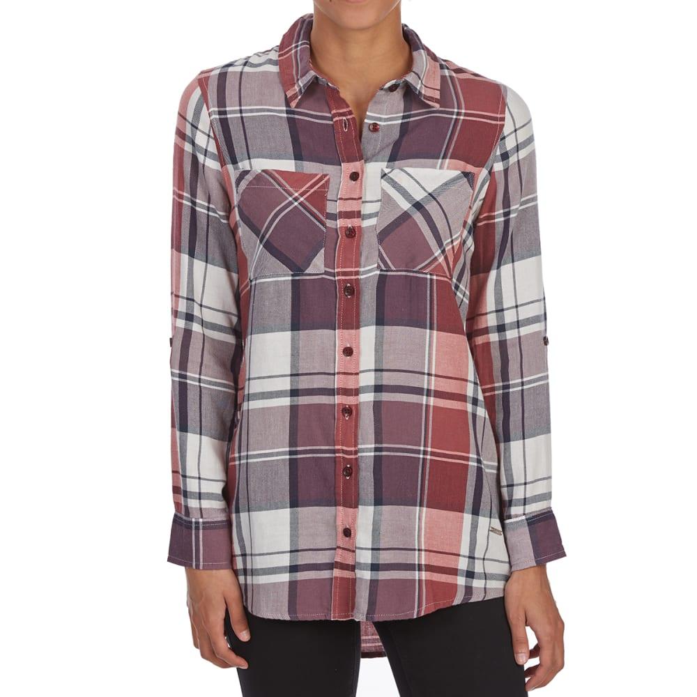 MAISON COUPE Women's Button-Front Woven 3/4-Sleeve Shirt - BURGUNDY