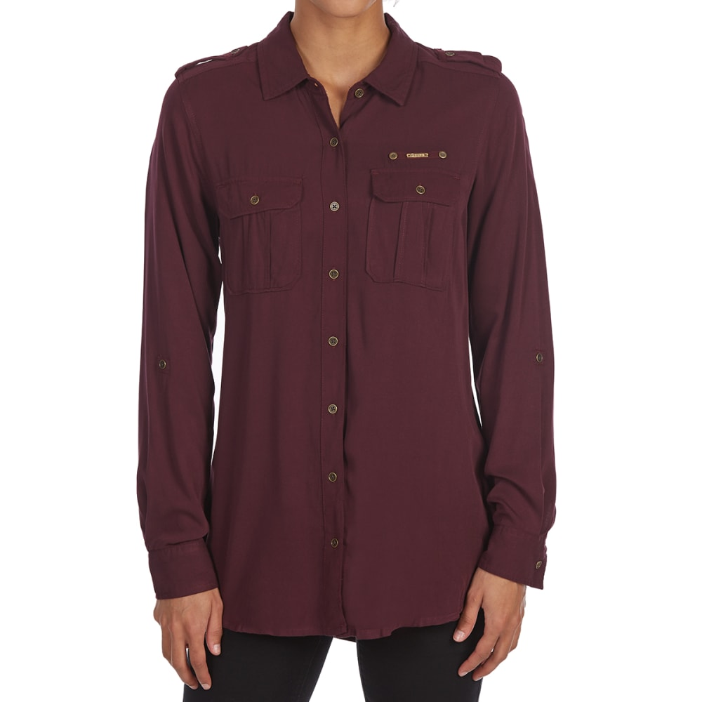 MAISON COUPE Women's Solid Roll-Tab Woven Long-Sleeve Shirt - PLUM