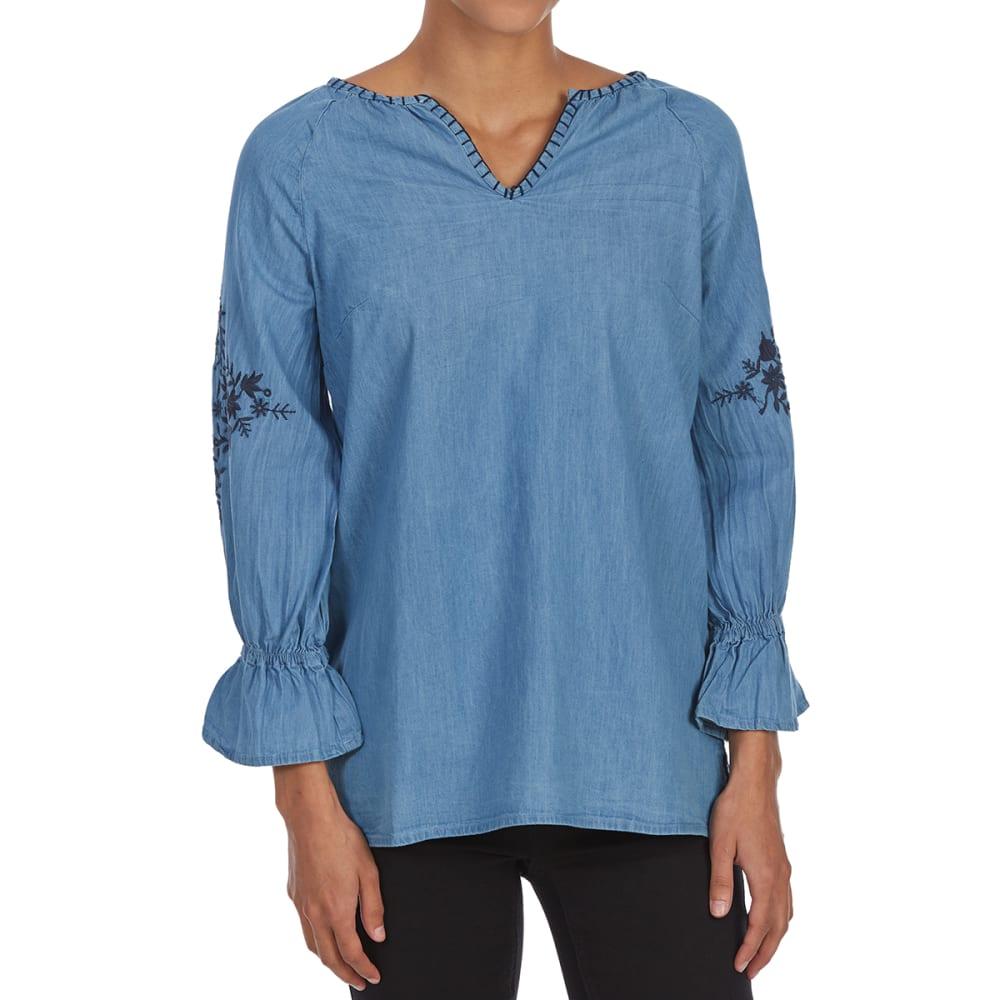MAISON COUPE Women's Tie-Neck Long-Sleeve Peasant Blouse - DENIM BLUE