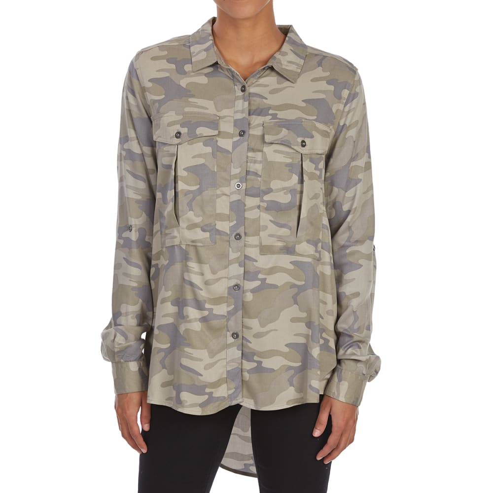 MAISON COUPE Women's Camo Roll-Tab Woven Long-Sleeve Shirt - ARMY