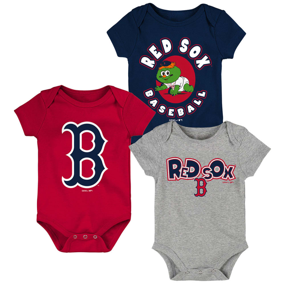 BOSTON RED SOX Infant Boys' Every Fan Bodysuits, 3-Pack - ASSORTED