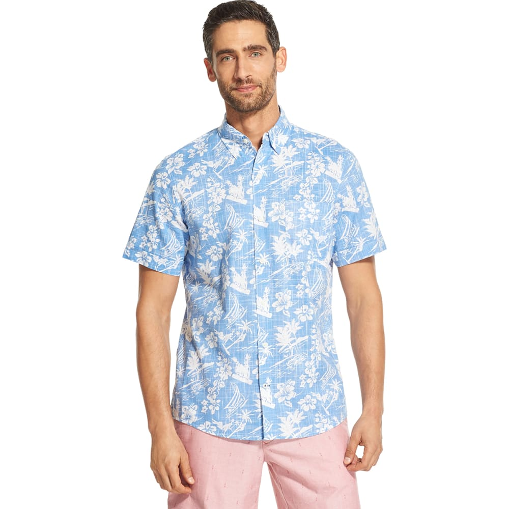 IZOD Men's Dockside Chambray Short-Sleeve Floral Button-Front Shirt M
