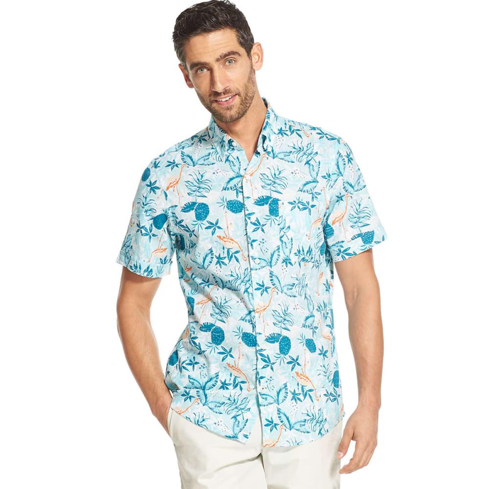 IZOD Men's Dockside Chambray Short-Sleeve Floral Button-Front Shirt - OCN DPTHS
