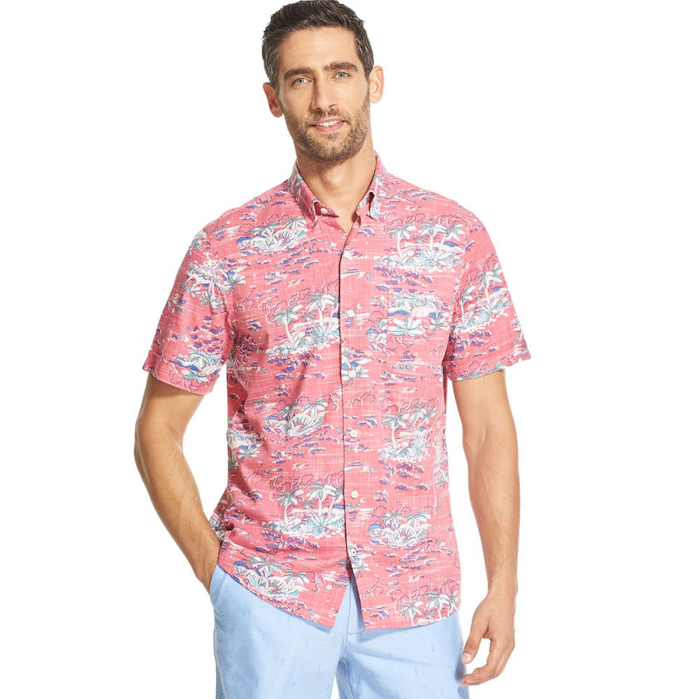 Izod Men's Saltwater Dockside Chambray Tropical Short-Sleeve Button-Down Shirt - Red, M