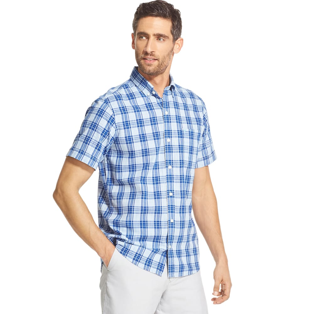 IZOD Men's Short-Sleeve Saltwater Dockside Chambray Plaid Button-Down Shirt M