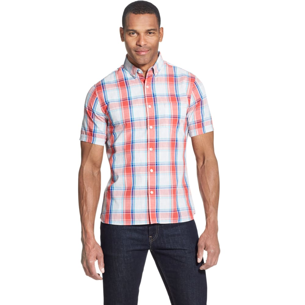 Van Heusen Men's Short-Sleeve Never Tuck Button Down Shirt - Red, M