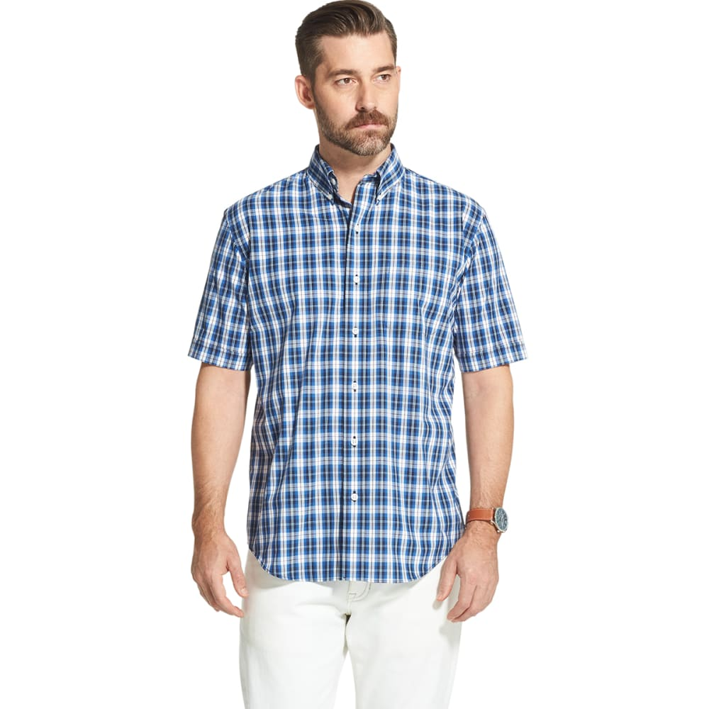 Arrow Men's Hamilton Short-Sleeve Poplin Plaid Button Down Shirt - Blue, M