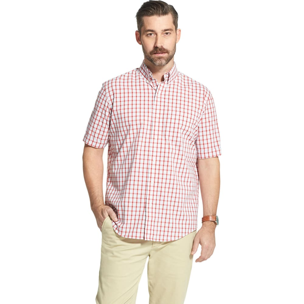 Arrow Men's Hamilton Short-Sleeve Button Down Shirt - Red, M
