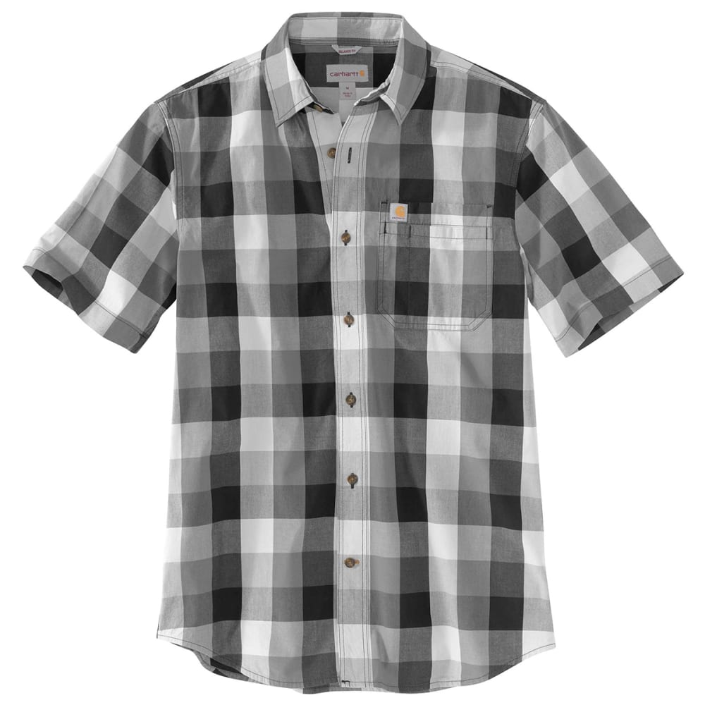 Carhartt Men's Essential Plaid Open Collar Short-Sleeve Shirt - Black, M