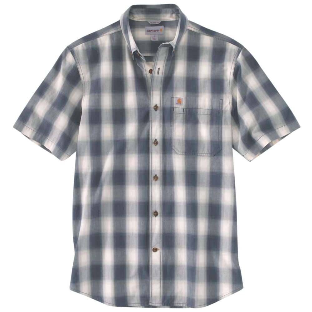 Carhartt Men's Essential Plaid Button Down Short-Sleeve Shirt - Blue, M