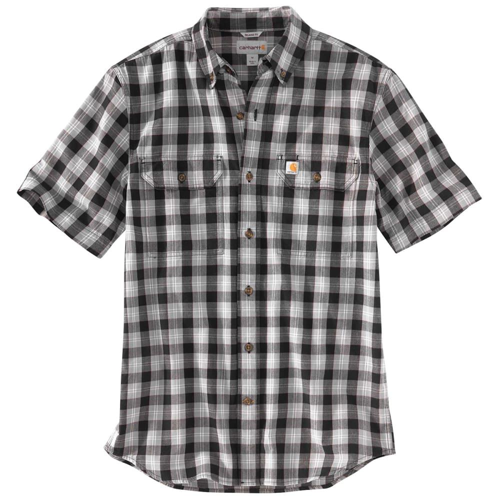 Carhartt Men's 103553 Fort Plaid Short-Sleeve Shirt - Black, M