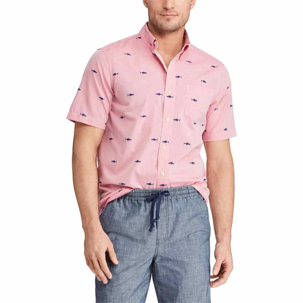 Chaps Men's Printed Cotton Short-Sleeve Shirt - Red, M