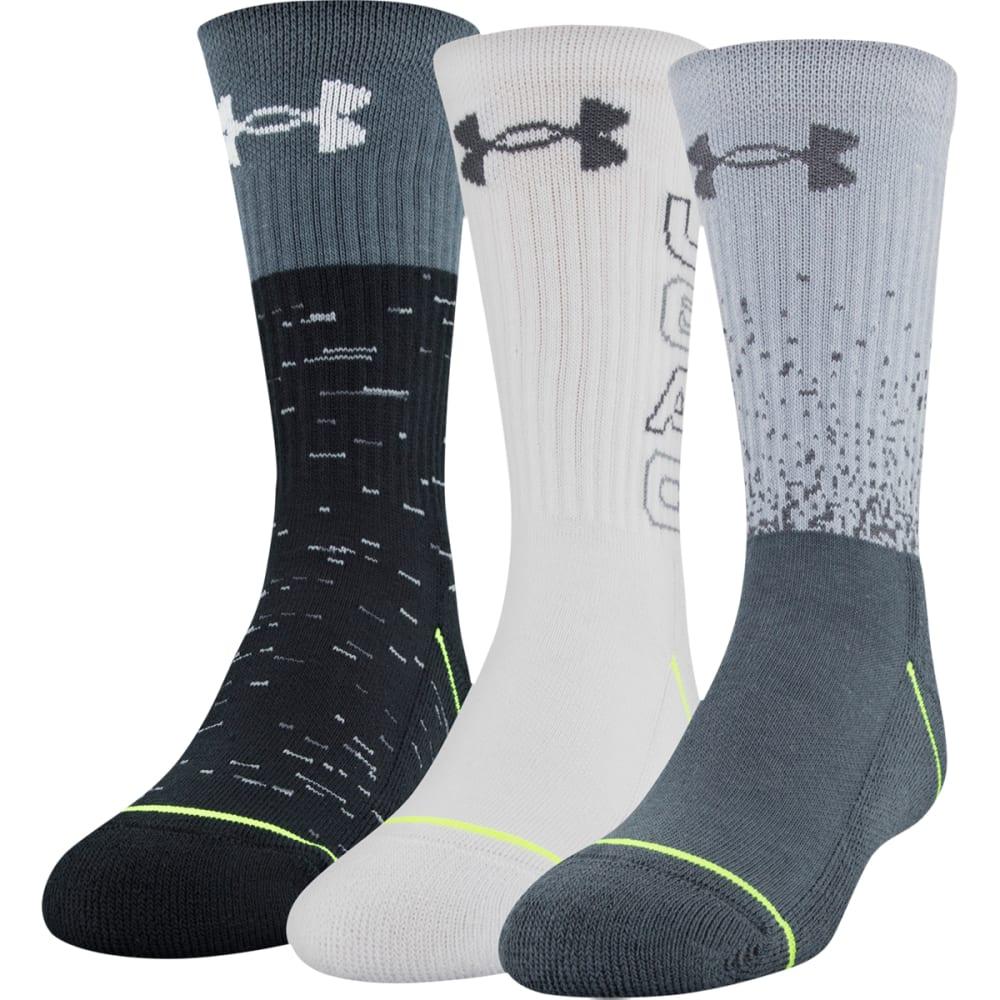UNDER ARMOUR Boys' Phenom 5.0 Crew Socks, 3-Pack - 960-GRAPHITE/ASST