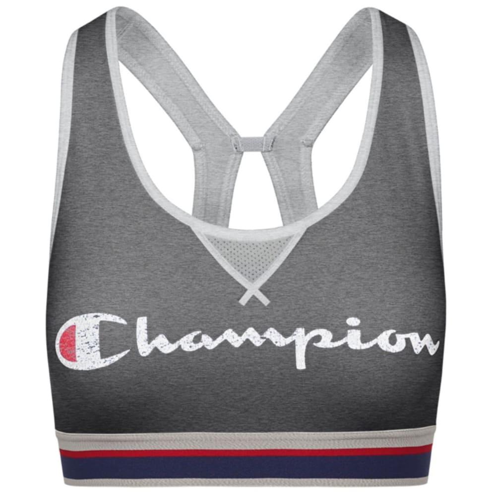 CHAMPION Women's The Authentic Distressed Logo Sports Bra - GRANITE HTR-AEV