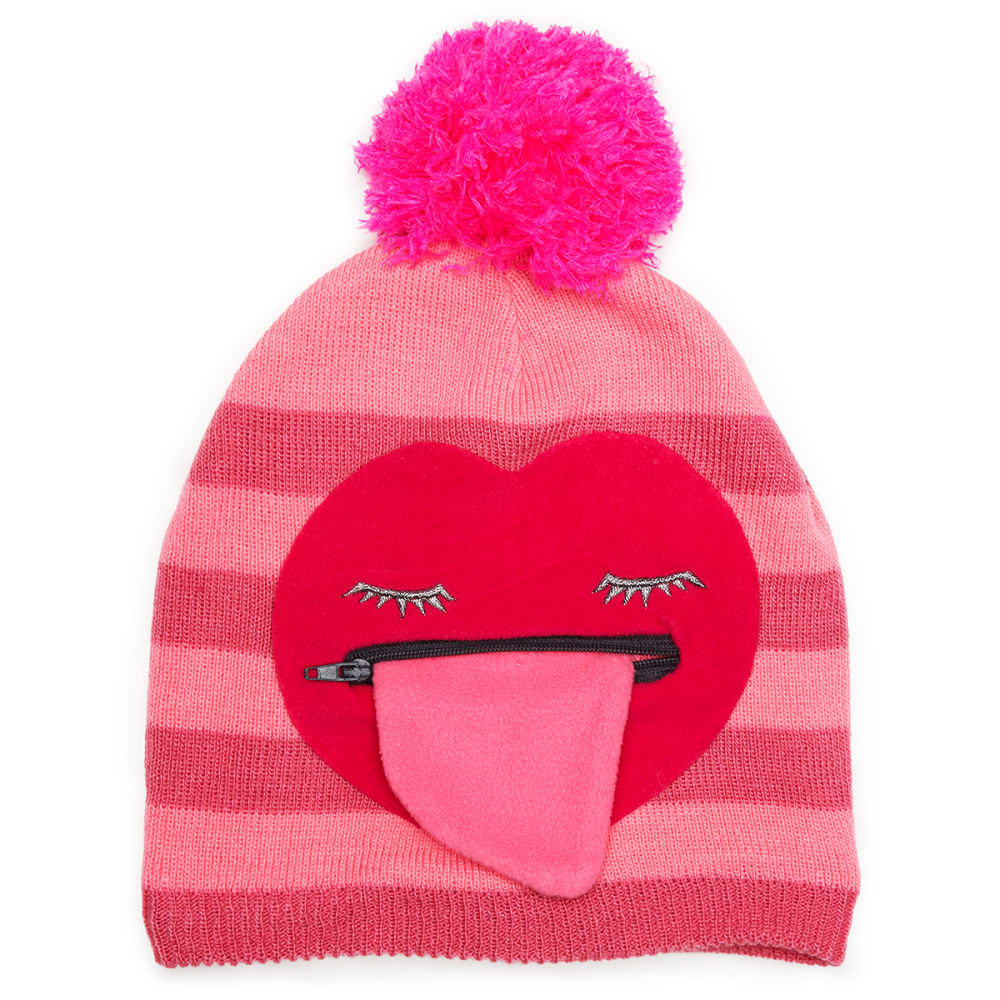 NOLAN Girls' Heart Stripe Pom Cold Weather Hat - PINK