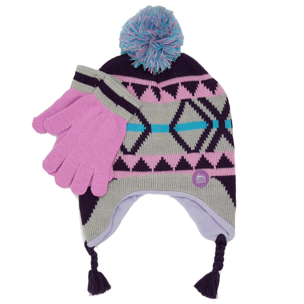 NOLAN Girls' Patterned Pom Knit Hat and Gloves Set - LILAC