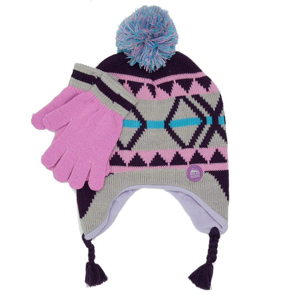 NOLAN Girls' Patterned Pom Knit Hat and Gloves Set - LILAC