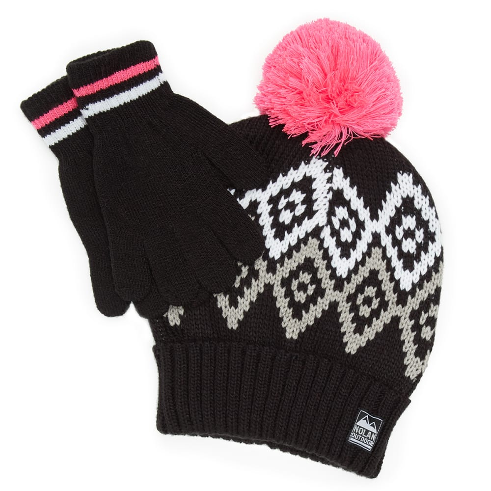 NOLAN Girls' Patterned Pom Knit Hat and Gloves Set - BLACK