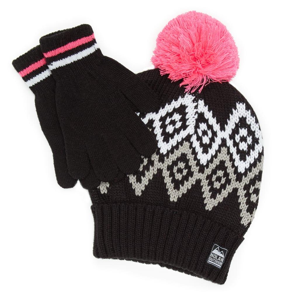 NOLAN Girls' Patterned Pom Knit Hat and Gloves Set - BLACK