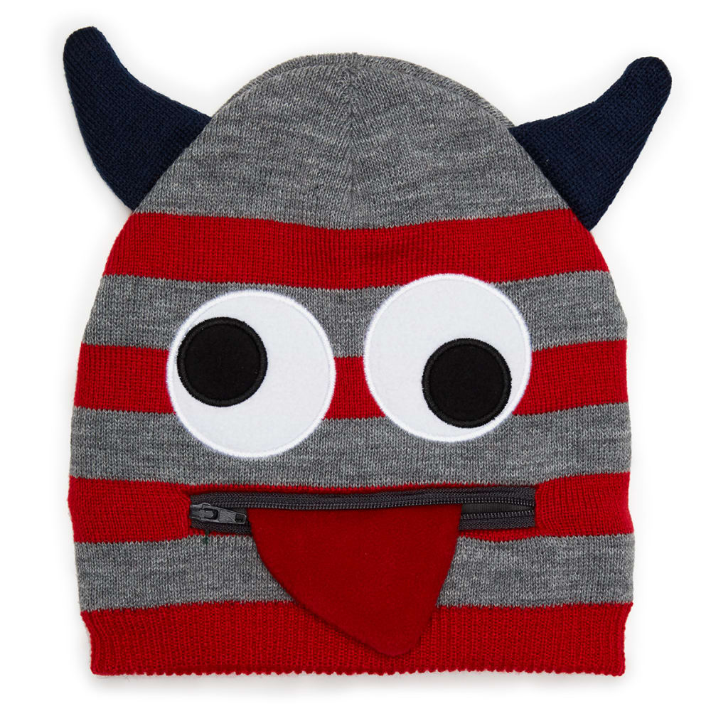 NOLAN Boys' Stripe Face Knit Hat - GREY/RED