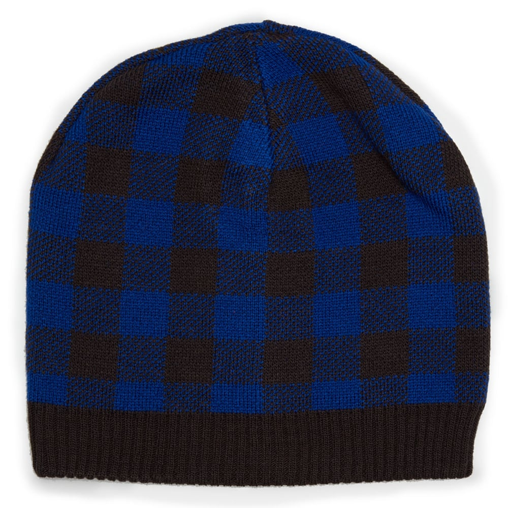 NOLAN Boys' Reversible Plaid Knit Beanie - NAVY/PLAID
