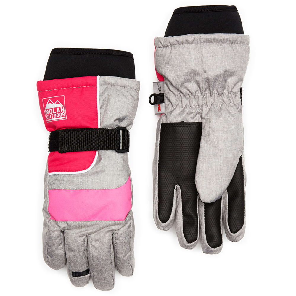 NOLAN Girls' Color-Blocked Ski Gloves - GREY/PINK