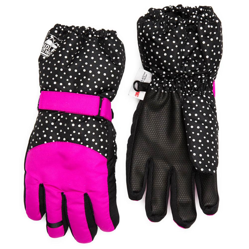 NOLAN Girls' Color-Blocked Ski Gloves - BLACK/PURP