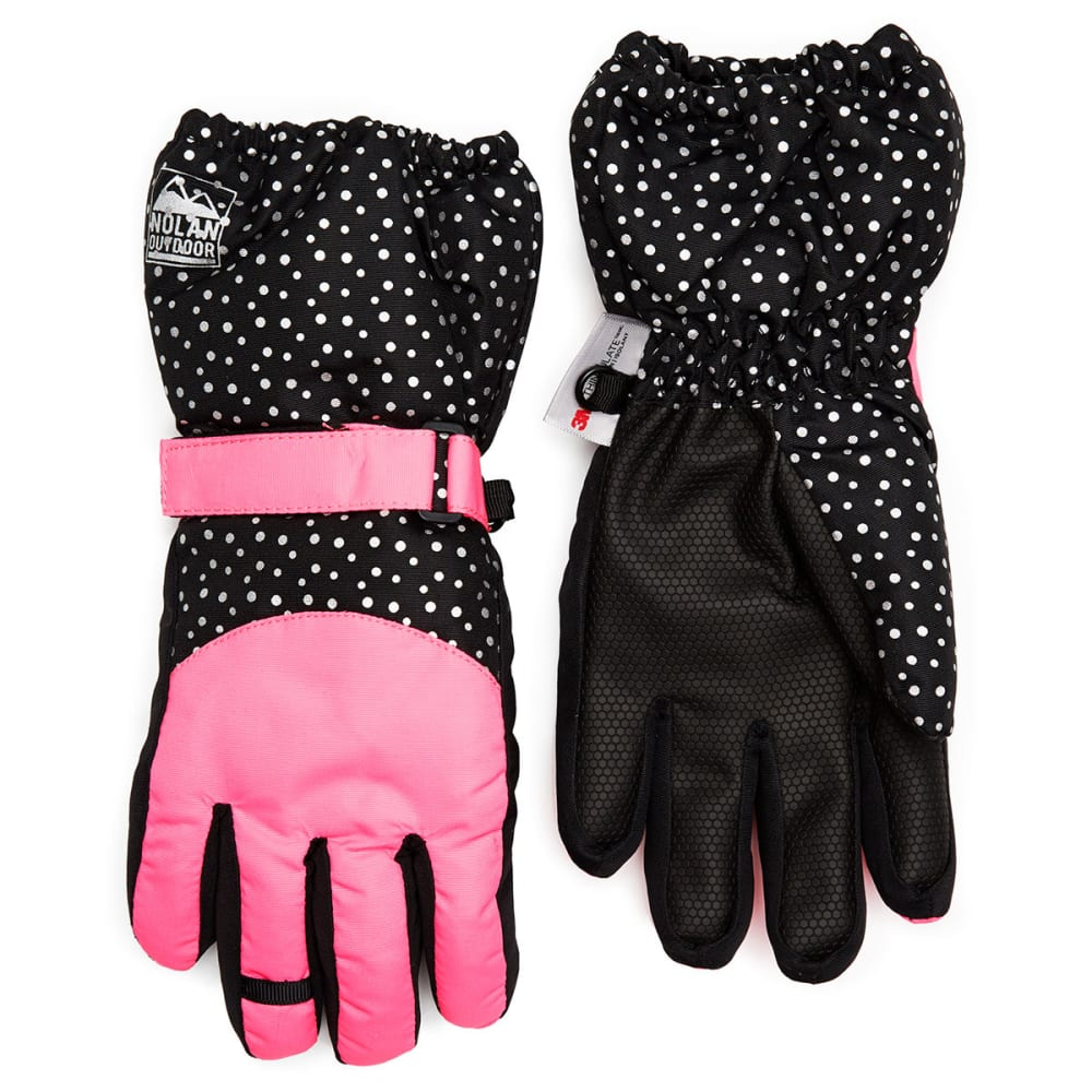 NOLAN Girls' Color-Blocked Ski Gloves - BLACK/PINK