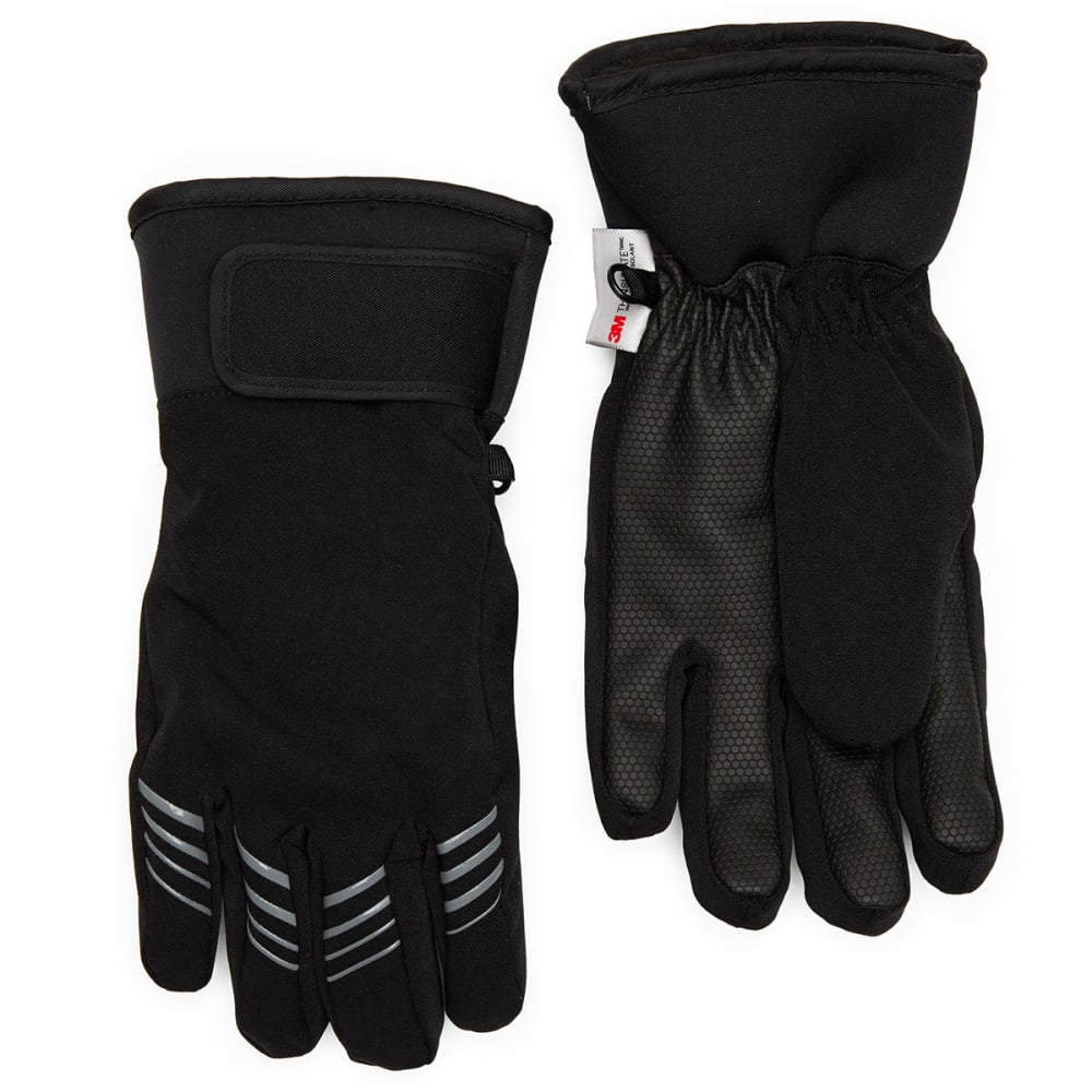 HANES Boys' Touch Ski Gloves - BLACK