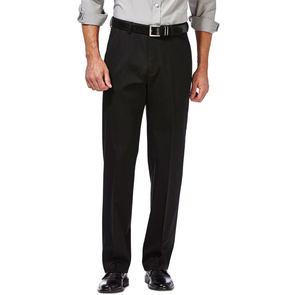 HAGGAR Men's Premium No-Iron Khaki Pants - BLACK 001