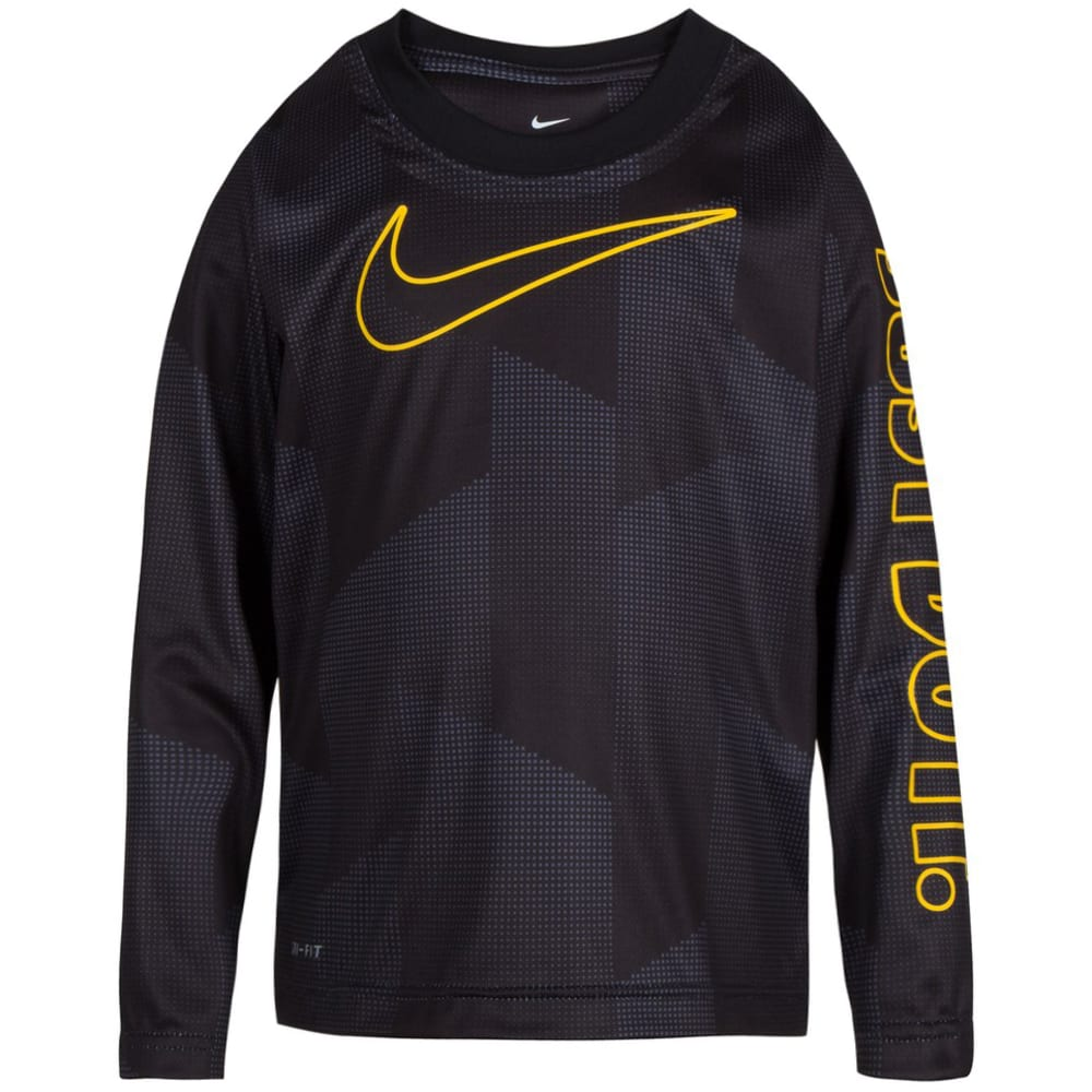 NIKE Little Boys' Just Do It Micro Dri-FIT Long-Sleeve Tee - BLACK-023