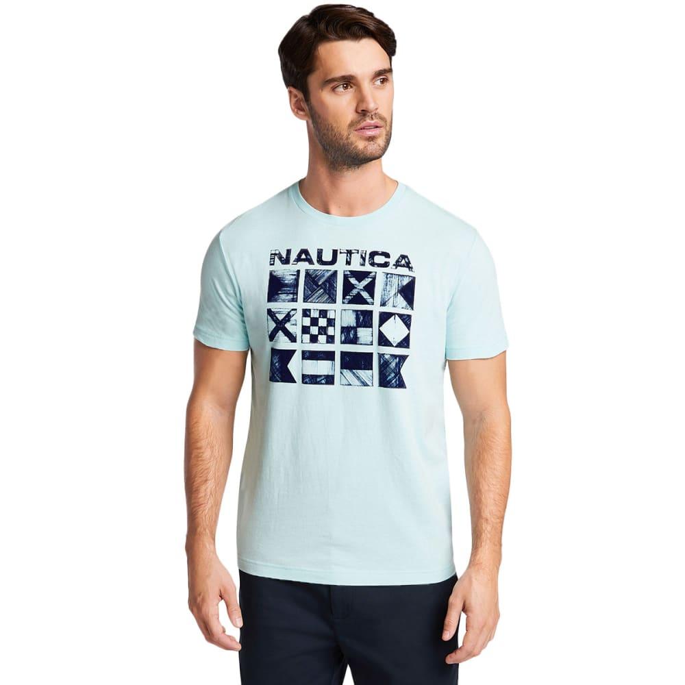 Nautica Men's Cross Hatch Flags Short-Sleeve Graphic Tee - Blue, M