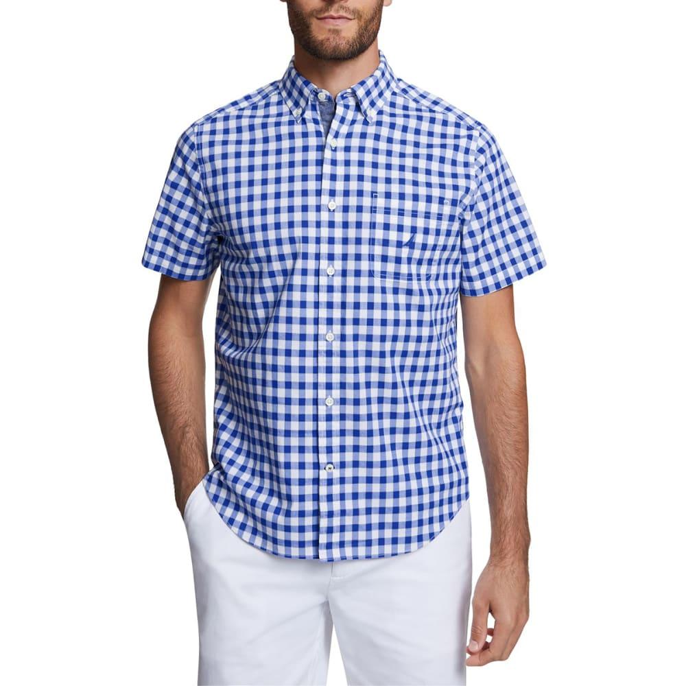 NAUTICA Men's Short-Sleeve Gingham Stretch Poplin Shirt M