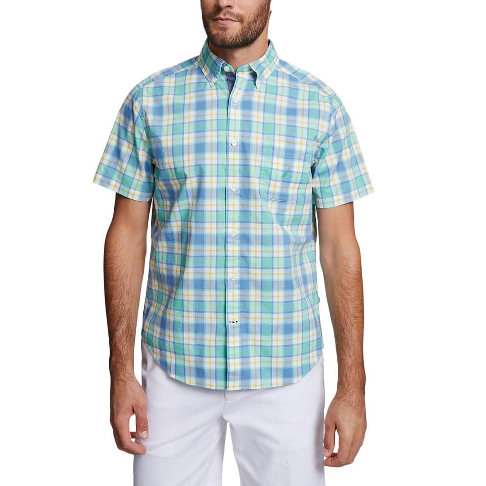 NAUTICA Men's Stretch Poplin Short-Sleeve Shirt L