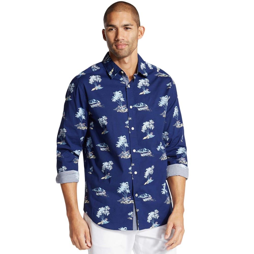 NAUTICA Men's Long-Sleeve Palm Tree Motif Shirt M