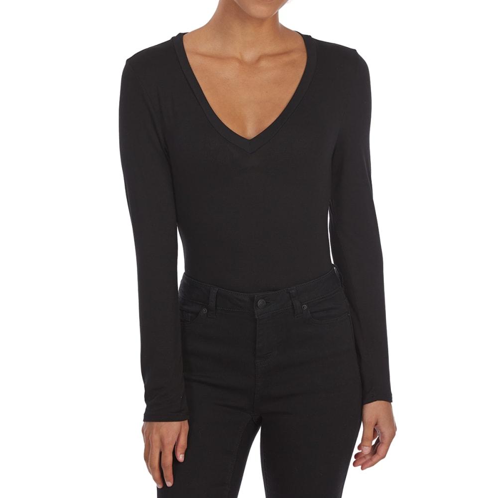 TRESICS Juniors' Rayon Long-Sleeve Bodysuit - BLACK