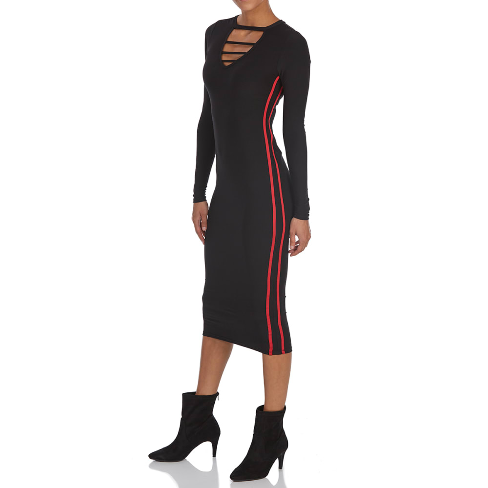 EYE CANDY Juniors' Cage Neck Long-Sleeve Midi Dress - BLACK