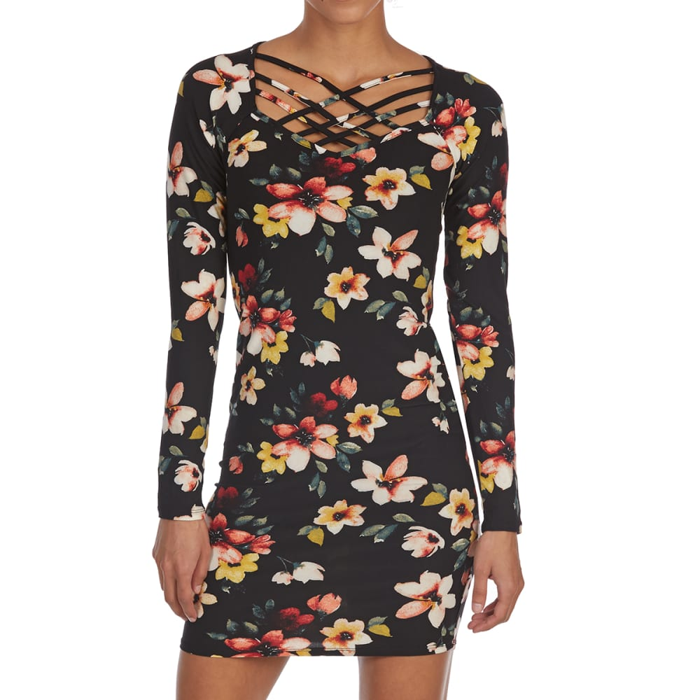 d8a411e39c EYE CANDY Juniors  Floral Cage Neck Long-Sleeve Jersey Dress