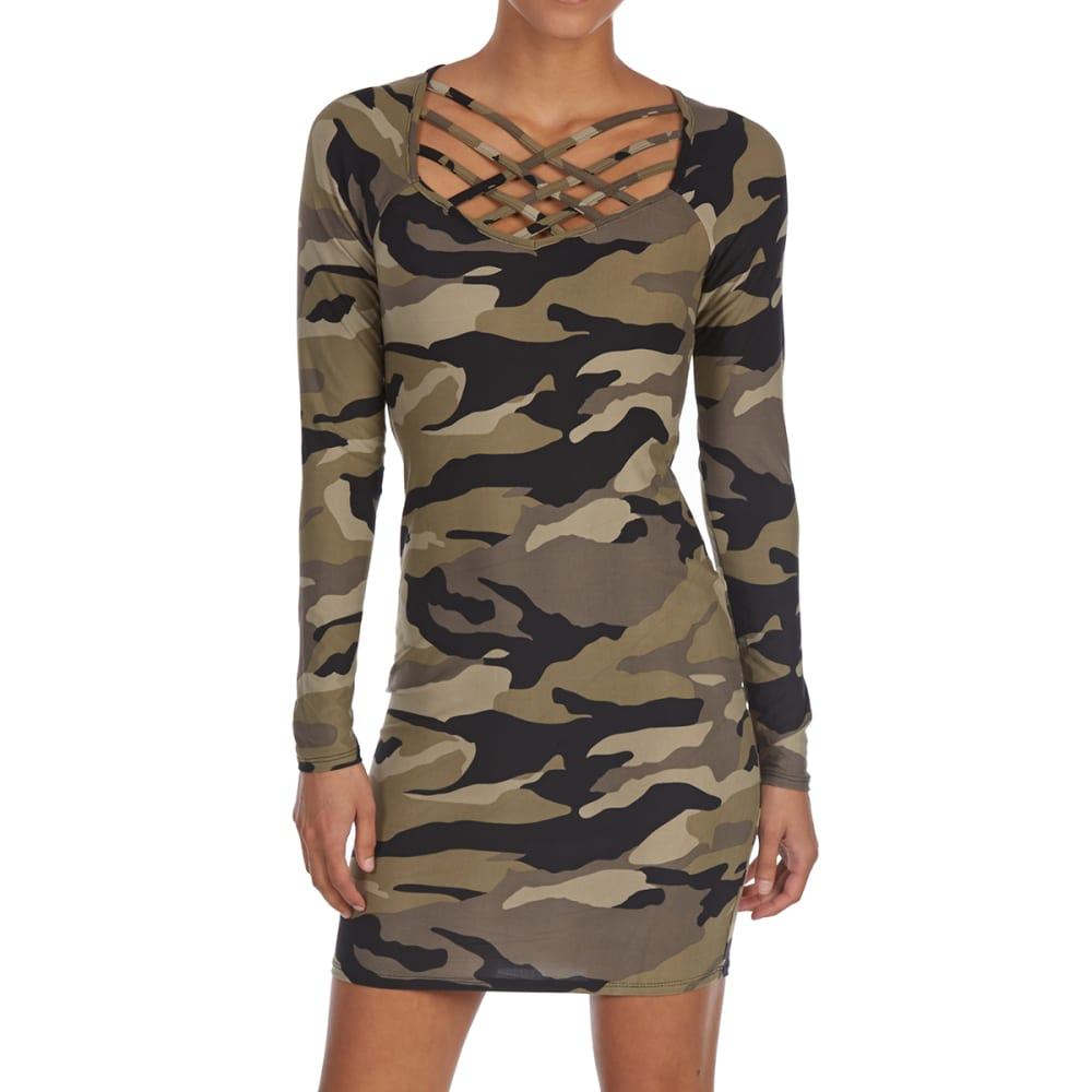EYE CANDY Juniors' Camo Cage Neck Long-Sleeve Jersey Dress - OLIVE GREEN