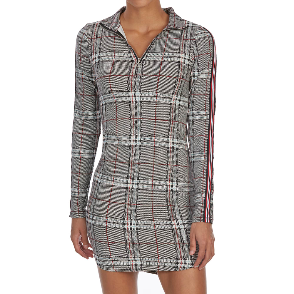 EYE CANDY Juniors' Plaid Zippered Mock Neck Long-Sleeve Shirttail Dress - BLACK