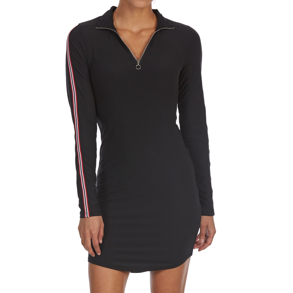 EYE CANDY Juniors' Zippered Mock Neck Long-Sleeve Shirttail Dress - BLACK