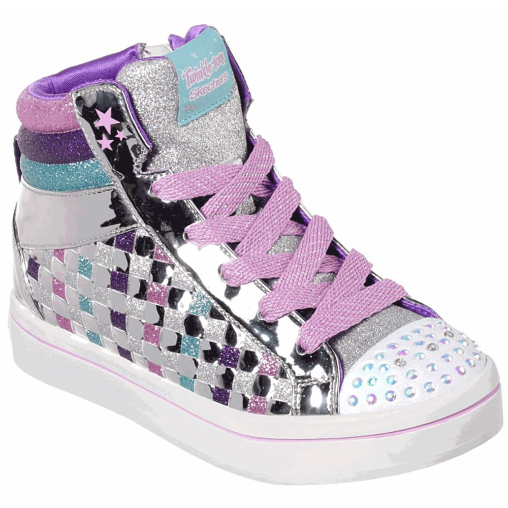 SKECHERS Little Girls' Twinkle Toes Twi-lites Sparkle Status Hi Top Sneakers - SILVER-SMLT