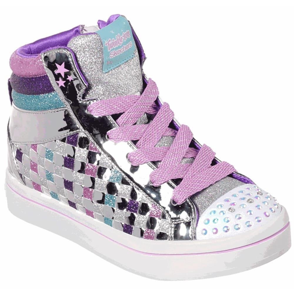SKECHERS Little Girls' Twinkle Toes Twi-lites Sparkle Status Hi Top Sneakers - SILVER-SMLT