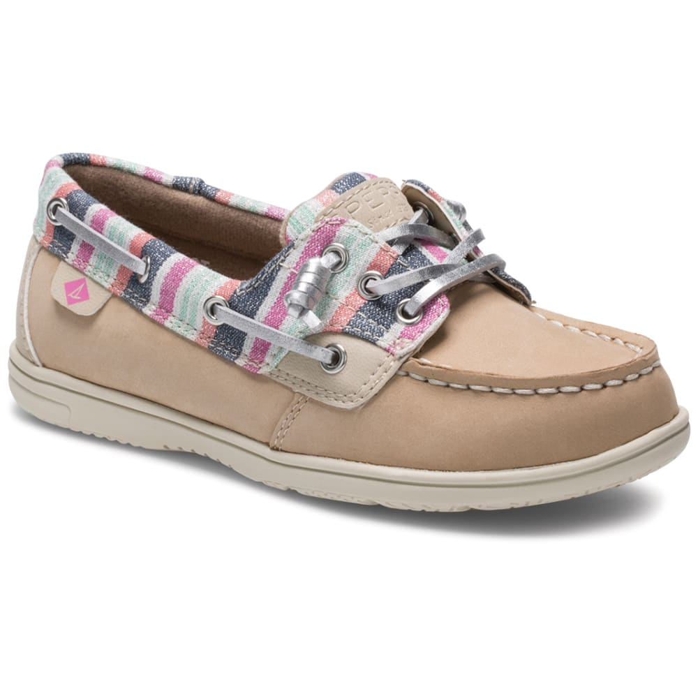 SPERRY Girls' Shoresider 3-Eye Boat Shoe - SPARKLE STRIPE