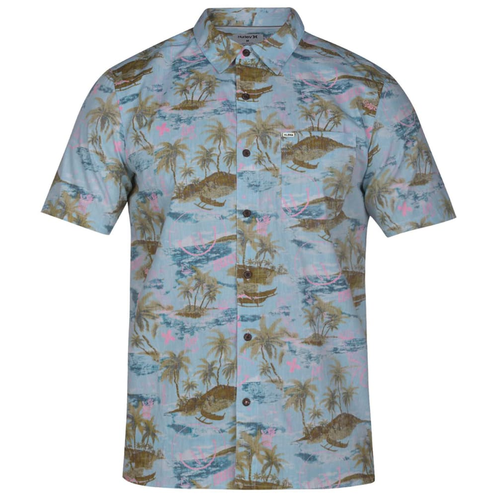 Hurley Young Men's Outrigger Woven Short-Sleeve Shirt - Blue, S