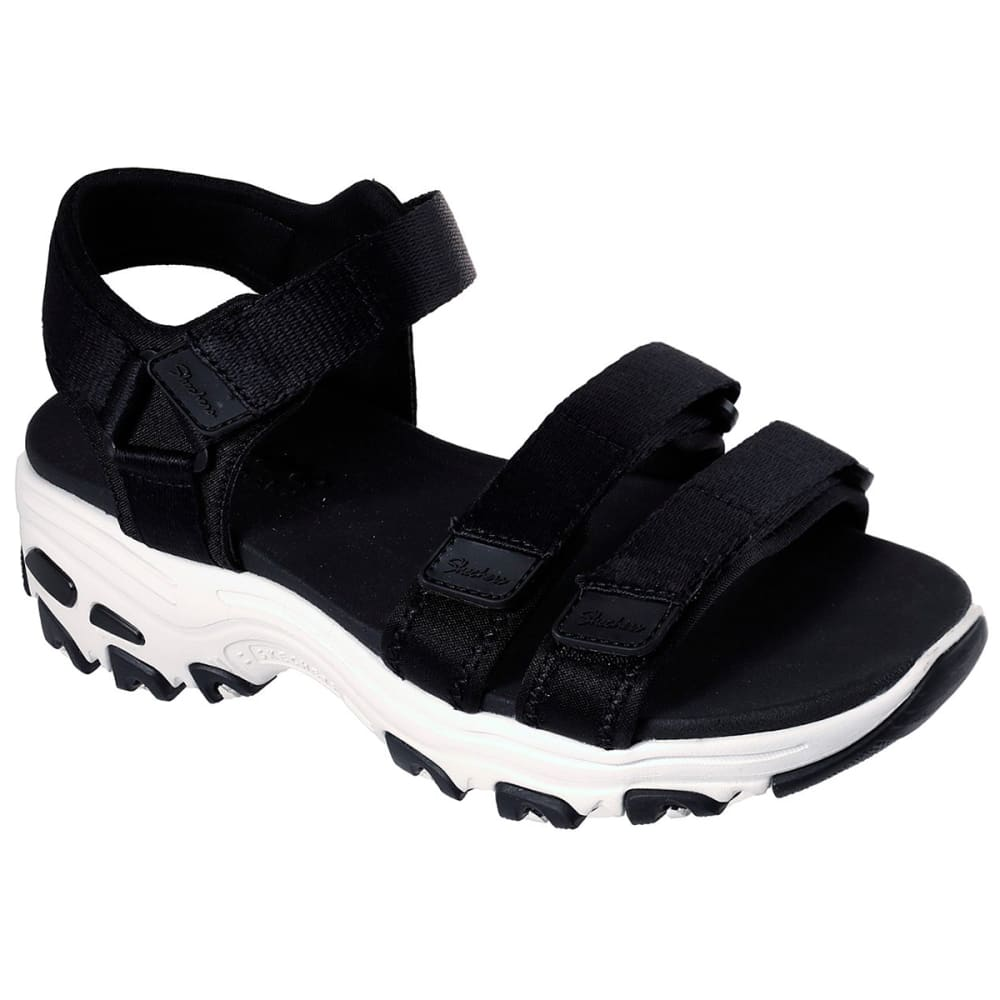 SKECHERS Women's D'Lites Fresh Catch Sport Sandal - BLACK-BLK